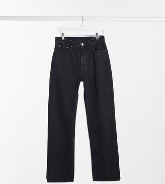 Weekday voyage organic cotton high waist straight leg button front jeans in black