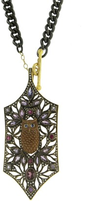 Cathy Waterman Falling Leaves Multi Stone Charm in 22K Yellow Gold