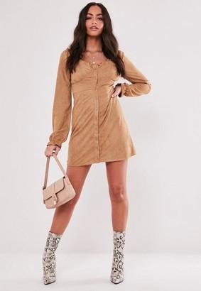 Missguided Tan Faux Suede Milkmaid Mini Dress