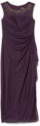 Alex Evenings Women's Long Column Dress with Illusion Sweetheart Neckline