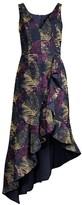 Aidan Mattox Jacquard Print Asymmetric Midi Dress