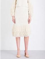 Rosetta Getty Fringed silk-crochet skirt