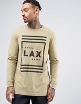 Asos Longline Long Sleeve T-Shirt With LAX Print