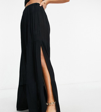 ASOS DESIGN petite crinkle tiered maxi beach skirt co-ord in black