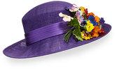 Philip Treacy Straw Hat w/ Pansies, Purple