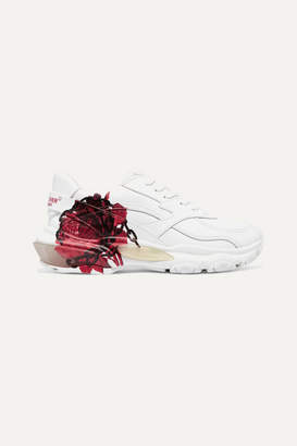 Valentino Undercover Garavani Bounce Printed Leather And Mesh Sneakers - White