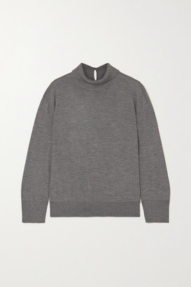 Loro Piana Lupetto Melange Cashmere And Silk-blend Turtleneck Sweater - Gray