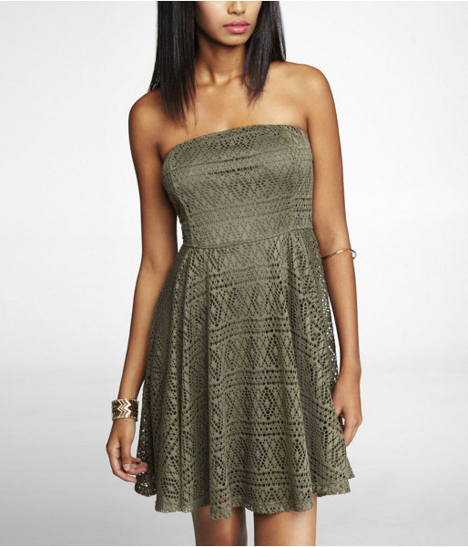 Express Strapless Geometric Lace Skater Dress