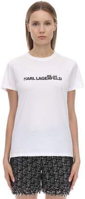 Karl Lagerfeld Paris Printed Cotton Jersey T-shirt