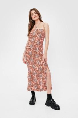 Nasty Gal Womens We're a Wild Bunch Leopard Midi Dress - Orange - 4
