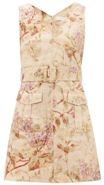 Zimmermann Sabotage Floral-print Linen Mini Dress - Womens - Cream Print