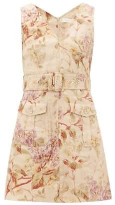 Zimmermann Sabotage Floral-print Linen Mini Dress - Womens - Cream Print
