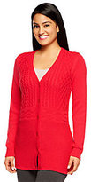 Liz Claiborne New York Cotton Cashmere Mixed Stitch Cabled Cardigan