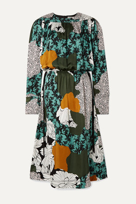 By Malene Birger Niella Floral-print Satin Midi Dress - Green