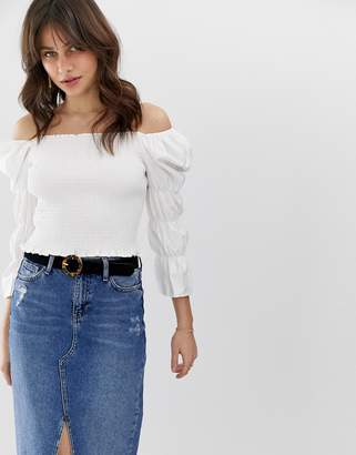 Moon River puff sleeve blouse-White