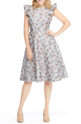 Gal Meets Glam Lola Dancing Daisy Jacquard Dress (Regular & Plus Size)