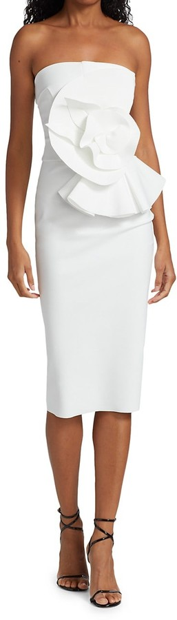 Chiara Boni Hebe Strapless Ruffle Sheath Dress