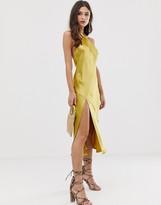 Asos Design DESIGN midi dress with halter neck detail in high shine satin