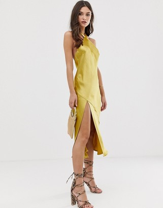 Asos DESIGN midi dress with halter neck detail in high shine satin