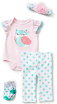 Starting Out Baby Girls Newborn-9 Months 4-Piece Owl-Appliqued Layette Set