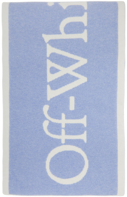 Off-White Blue and White Felted Wool New Logo Scarf