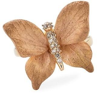 Piranesi Oro 18K Rose Gold & Diamond Butterfly Ring