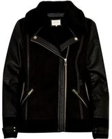 River Island Womens Black faux leather biker jacket