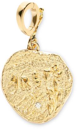 Azlee Diamond Small Arete Virtue Coin Yellow Gold Charm