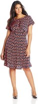 London Times T1043M Short Sleeve Ruched Dotted Dress