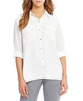 Jones New York Roll-Sleeve Tiered Back Hi-Low Hem Shirt
