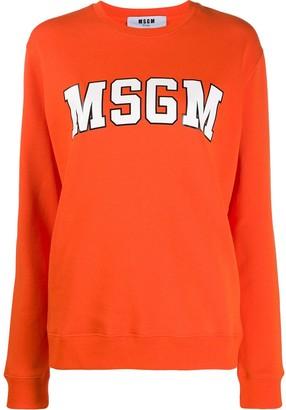 MSGM College logo print sweater