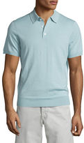 Neiman Marcus Short-Sleeve Cashmere-Silk Polo Shirt