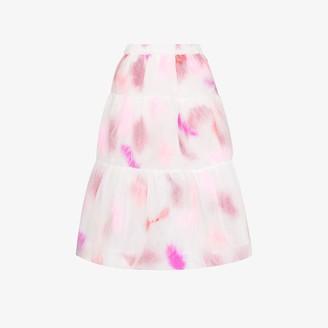 Susan Fang Layered feather organza midi skirt