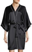Neiman Marcus Contrast-Trim Silk Short Robe