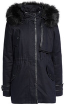 Maje Faux Fur, Shearling And Leather-Trimmed Cotton-Twill Parka