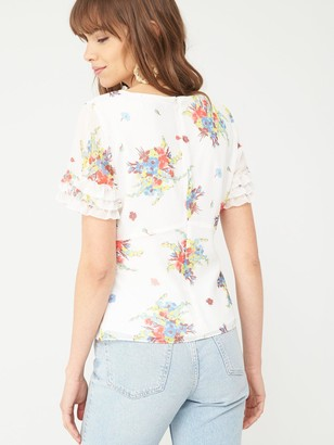 Very Ruffle Sleeve Shell Top - Floral Print