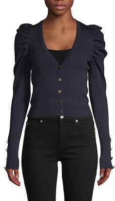 Lea & Viola Puff-Sleeve Short Cardigan Sweater