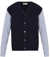 Marni Poplin-sleeved wool cardigan