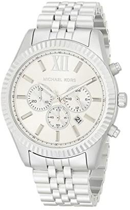 Michael Kors Lexington Chronograph Aluminum Watch (Silver) Watches