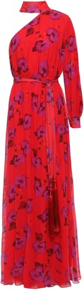 Borgo de Nor Isabeau One-shoulder Floral-print Silk-chiffon Gown