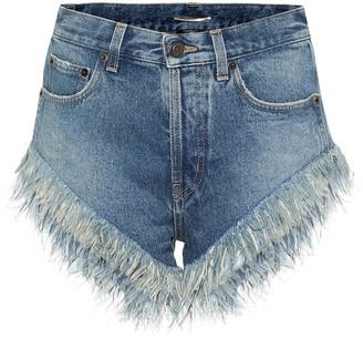 Saint Laurent Feather-trimmed denim shorts
