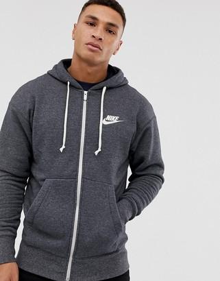 Nike Heritage zip through hoodie in black