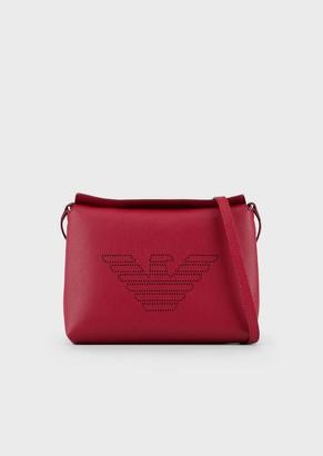 Emporio Armani Mini Shoulder Bag In Bonded Leather With A Fretwork Logo