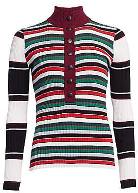 Proenza Schouler White Label Women's Ribbed Rugby Striped Turtleneck Sweater