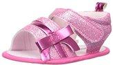Little Me Baby-Girls Newborn Glitter Sandal with Velcro Closure