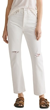 AGOLDE Cotton Ripped Straight Jeans in Enamel