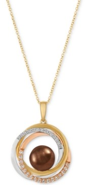 LeVian Le Vian Cultured Tahitian Brown Pearl (10-1/2mm) & Diamond (1/3 ct. t.w.) Pendant Necklace in 14k Gold, White Gold & Rose Gold