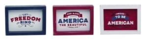Transpac Trans Pac 4th of July Patriotic Block Decor - Set of 3