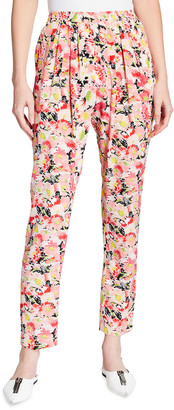 Stella McCartney Christine Floral Watercolor-Print Silk Pants