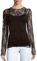 Oscar de la Renta Floral Lace-Trim Long Sleeve Top